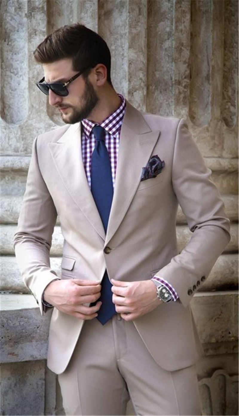 2019 アイボリーベージュピークドラペル男性タキシードの結婚式のスーツ花婿の付添人のスマートビジネスサマービーチパーティーブレザージャケット + パンツ