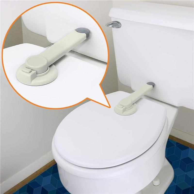 ABS Baby Safety Toilet Lid Lock With Arm Kids Adhesive Mount Toilet Seat Locks Children Security Closestool Teat Cover Blocker