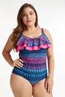 Bonverano Chlorine Resistant Plus Size Women One Piece Push up Swimsuit