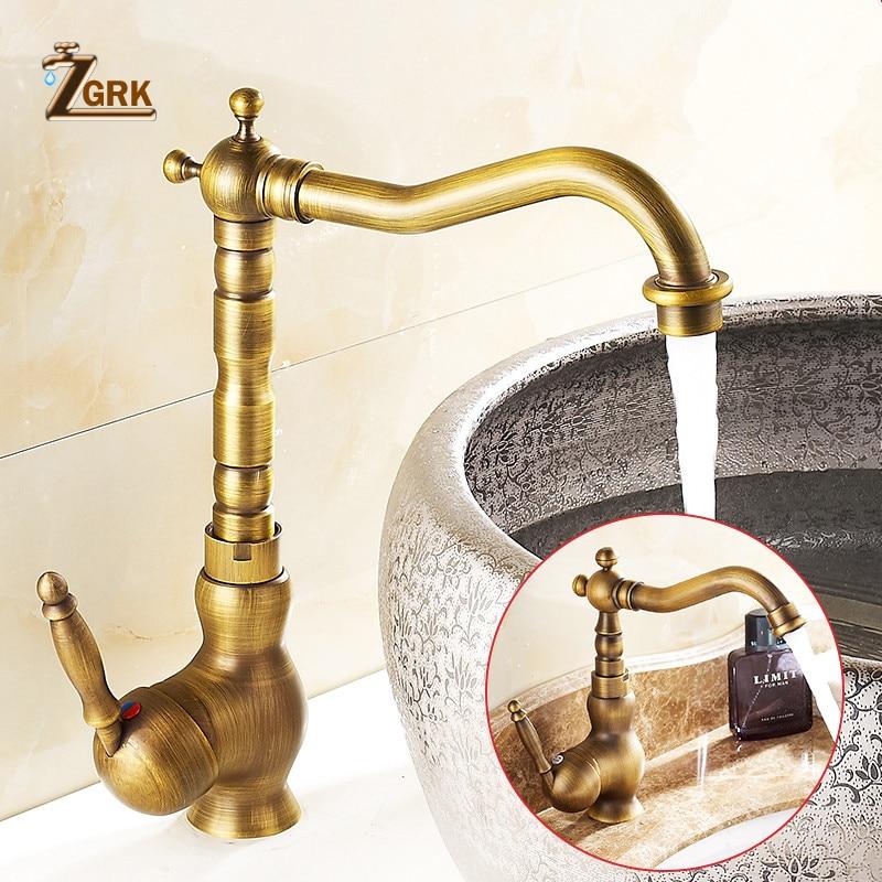 ZGRK обустройство дома интимные аксессуары античная латунь кухня кран 360 Поворотный Ванная комната бассейна Раковина кран-смеситель
