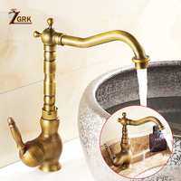 ZGRK Home Improvement Accessories Antique Brass Kitchen Faucet 360 Swivel Bathroom Basin Sink Mixer Tap Crane
