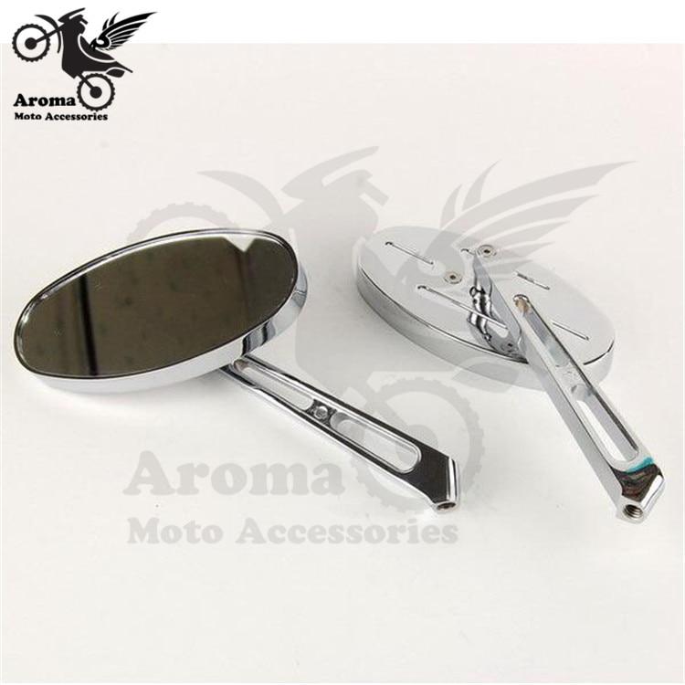 top quality ellipse chrome motorcycle side mirror for yamaha honda suzuki harley mirror moto motorbike rearview mirror unviersal