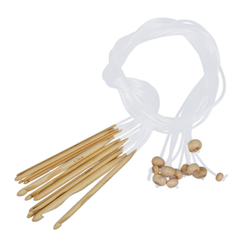 12 Sizes Crochet Needles Bleached Bamboo Afghan Tunisian 3,0-10,0 mm Sewing Tools & Accessory