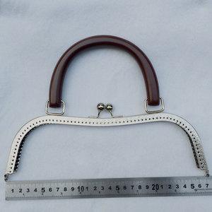 Image 5 - Bdthooo 27Cm Metal Purse Frame Massief Houten Handvat Diy Kus Sluiting Lock Voor Vrouwen Clutch Handgemaakte Handtas Antieke Zak accessoires