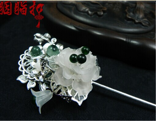 Jade Piece Sandblasting Flower Hair Stick Ta Qing Hen Hanfu Costume Hair Accessory Hair Jewelry pink crystal double layer classical hair stick vintage hair accessory hair stick hanfu hair accessory