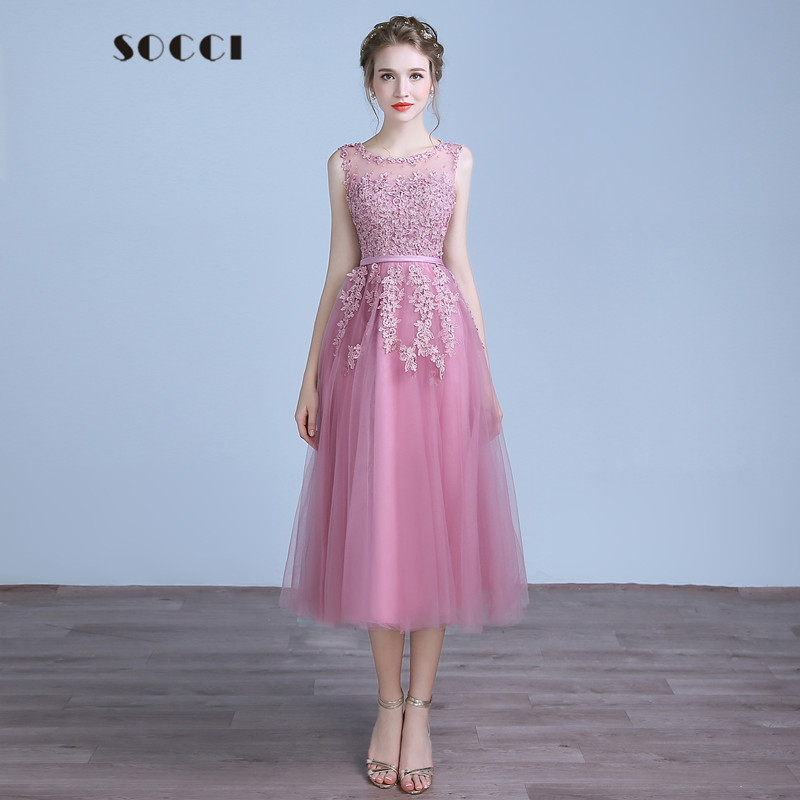 Weddings & Events Socci Tulle Lace Appliques Evening Dress 2019 Red Zipper Back A-line Formal Wedding Party Dresses Pearls Beading Reception Gowns