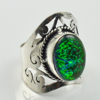 Dichroic Glass Ring Silver Overlay over Copper Size 7 25 R2505 in Rings from Jewelry Accessories