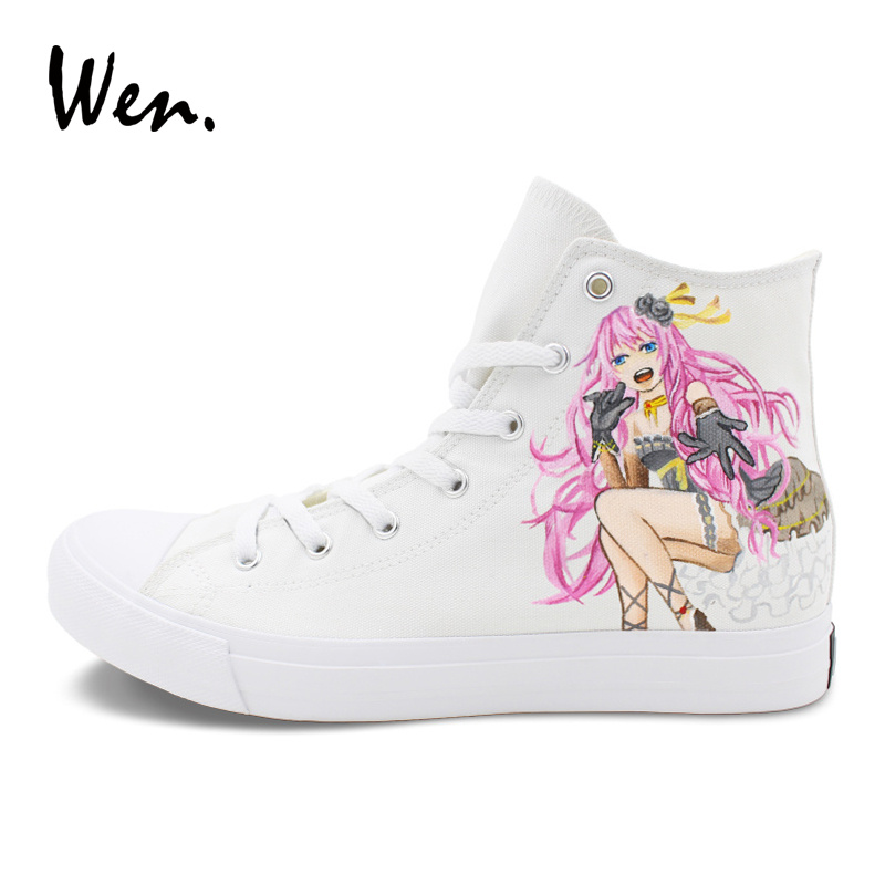Wen Skateboarding Shoes Custom Design Hand Painted Anime Vocaloid Megurine Luka Men Women Canvas Sneakers High Top Shoe wen design hand painted shoes custom anime samurai champloo slip on canvas sneakers for men women s special gifts