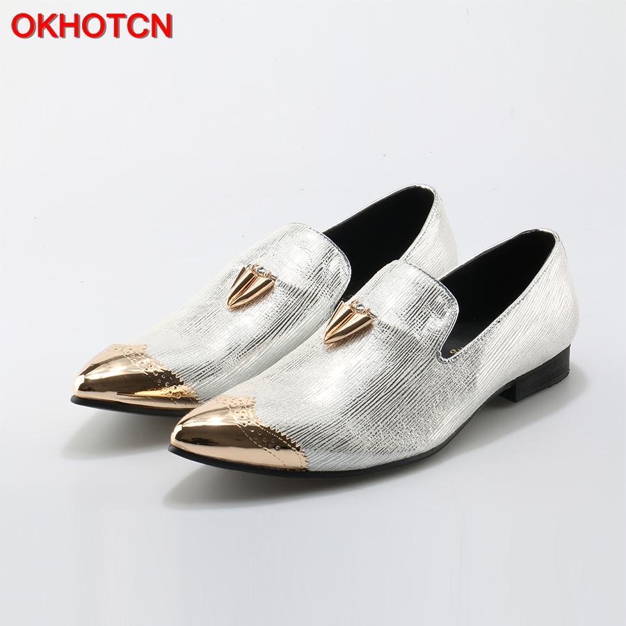 OKHOTCN 2018 New Pointed Toe Flats Men Shoes bright Sheepskin shoes with front and back Metal Weeding and prom men loafers pu pointed toe flats with eyelet strap