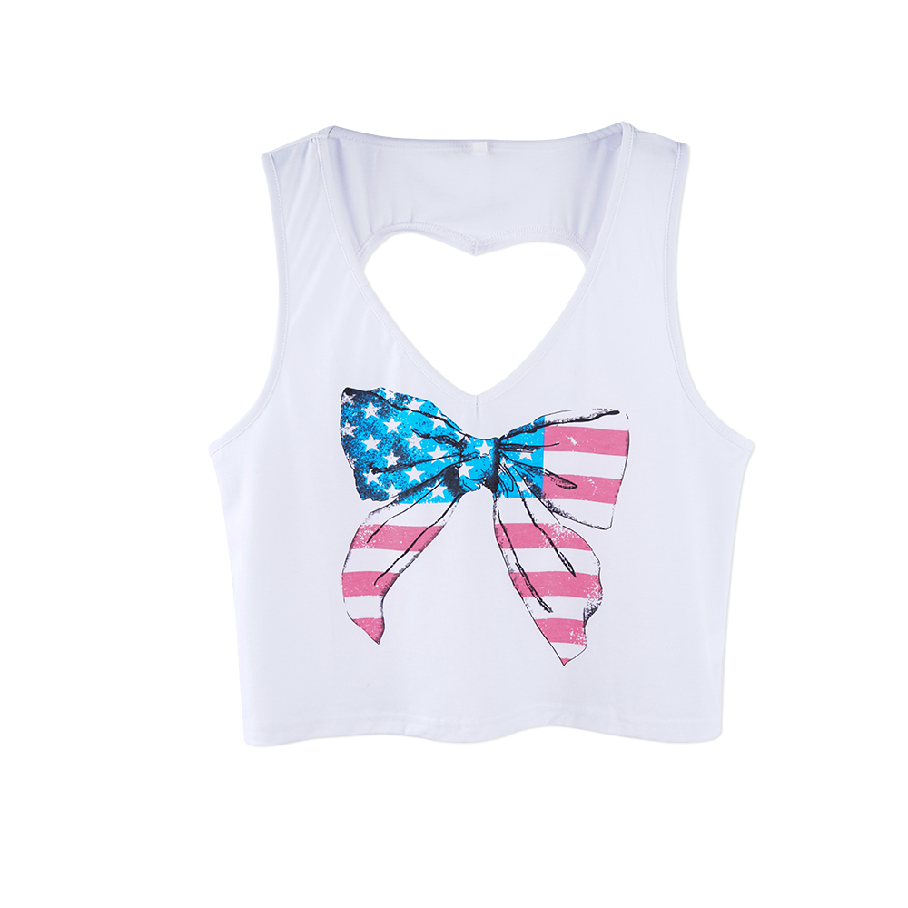 Neatie kiddie Bow Tie Print Front <font><b>Heart</b></font> <font><b>Cut</b></font> <font><b>Out</b></font> Women Tank Tops V-neck Summer Streetwear Casual Short T-<font><b>shirt</b></font> Loose Vest image