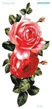 QC678 20X10cm Long HD Tatuajes Temporales Tattoo Sleeves Body Art Peony Flower Temporary Flash Tatoos Sticker Tatuagem