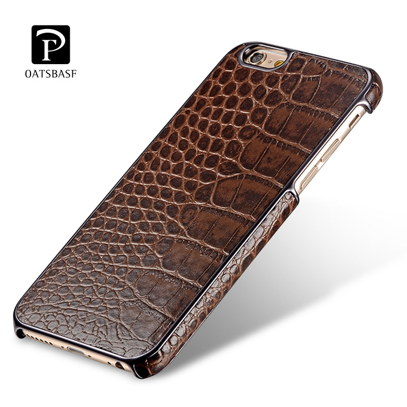For iPhone 6 Plus / 6S Plus Case,Genuine Cowhide Leather Crocodile Skin Back Cover Case for Apple iPhone 6 / 6S