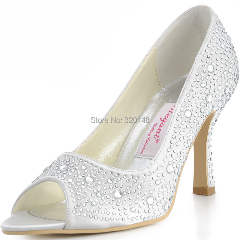 ФОТО Woman Shoes EP11066 Silver Peep Toe High Heel Party Prom Shoes Rhinestone Satin Women Wedding Bridal Shoes