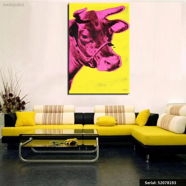 VANQUISH Andy Warhol Cow c1966 Yellow and Pink pop art print Wall ...