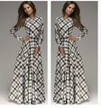 Spring Dress Maxi Chiffon Dress Large Size Cute Women Clothing 2015 Aliexpress Newest Plaid Patchwork Long Sleeve Vestido C85