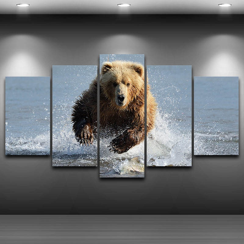 Grizzly Bear Artistic Print Drawing On Canvas Framed Printed