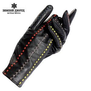 Image 1 - Boutique pour acheter les meilleurs gants féminins, cuir véritable, adulte, coton doublé, élégant gants en cuir noir barre de couleur, gants en cuir