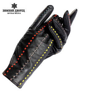 Image 1 - Shop to buy best Female gloves,Genuine Leather,Adult,Cotton Lined,Stylish black leather gloves color bar,Leather gloves