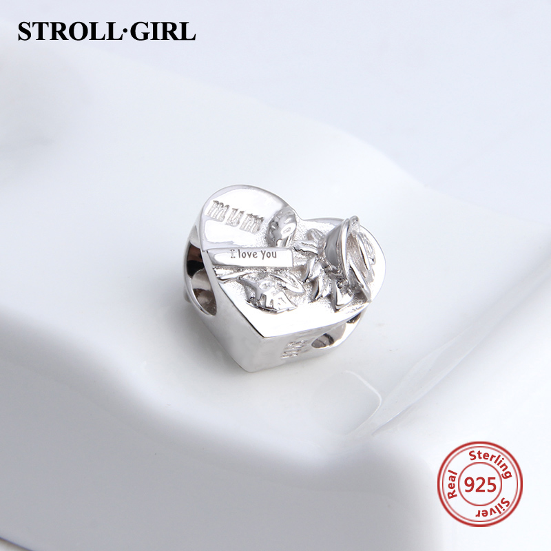 Strollgirl charms 925 sterling silver I love you beads fit original Pandora bracelet Pandora diy jewelry making for lover gift in Beads from Jewelry Accessories