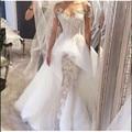 Vestido De Casamento Da Praia Wedding Dresses 2017 Mermaid Sweetheart Short sleeve Appliques Beaded Organza Bridal Gown