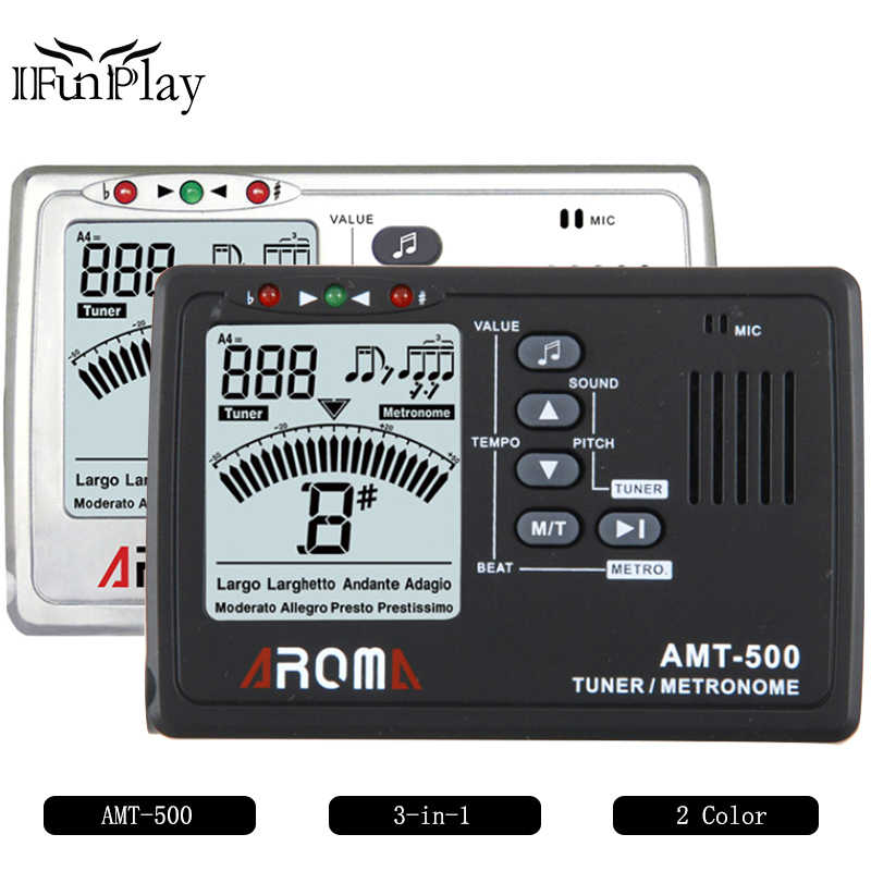 AROMA AMT-500 3-in-1 Big Screen Metronome Tuner 30-260bpm and Tone  Generator Support Chromatic Guitar Tuner