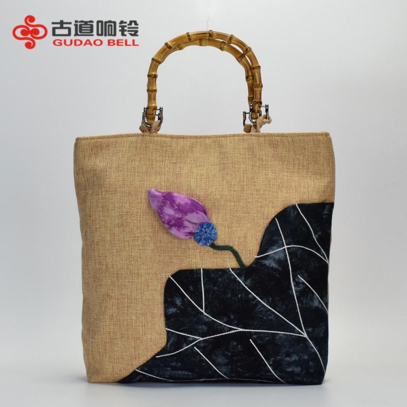 Original Chinese style Ancient cotton and ramie handmade slub large capacity hand shopping single shoulder bag