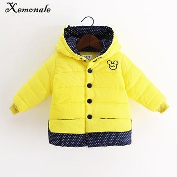 Xemonale Winter Minnie Girls Jacket Kids Coats Cotton-padded Clothes Childrens Warm Hooded Children Outerwear Coat 2-6Y