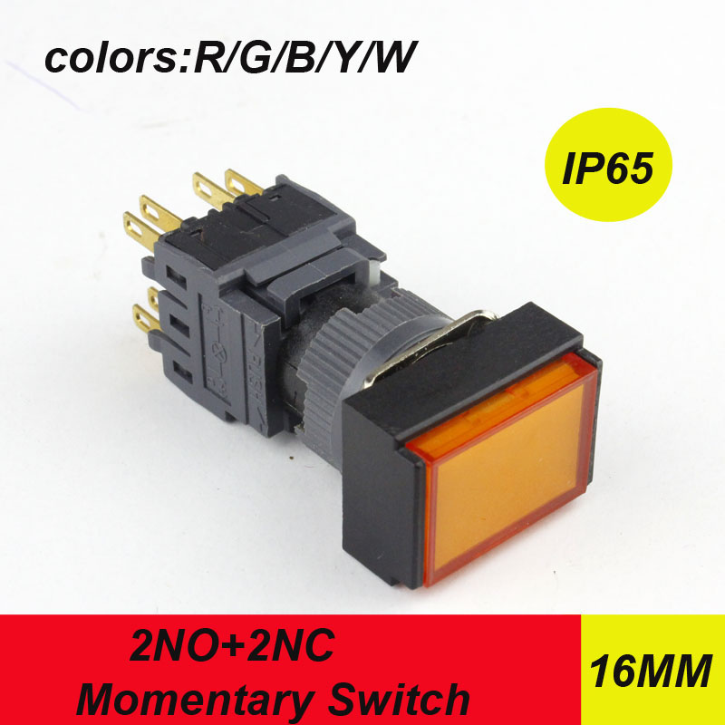 10pcs/lot HABOO HBA16-A dia.16mm electric push button reset switch 2NO+2NC DPST momentary switch 5A 250V