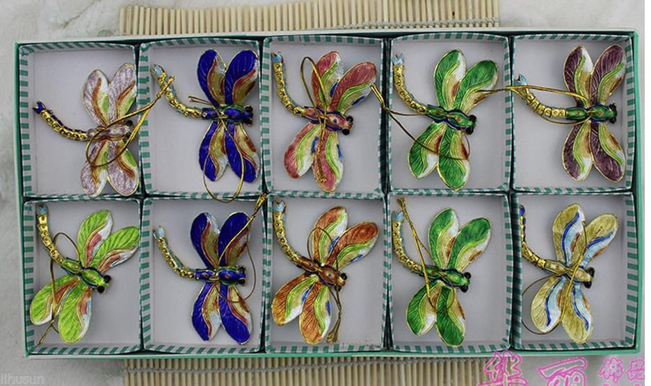 Online Shop Wholesale 10PCS Chinese Handmade Cloisonne dragonfly ...