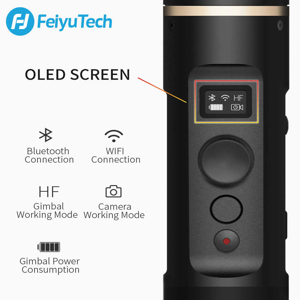 FeiyuTech G6 يده Gimbal عمل مثبت كاميرا splacproof Wifi بلوتوث OLED شاشة ل Gopro بطل 7 6 5 سوني RX0 يي