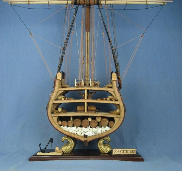 uss constitution cross section of wooden sailboat model assembly kit