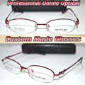 Optical Custom made optical lenses Titanium alloy red semi-rim Oval frame women Reading glasses +1 +1.5 +2+2.5 +3 +3.5 +4 to +6