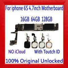 16 Гб 64 Гб 128 ГБ для iphone 6 S 4,7 дюймов материнская плата с сенсорным ID, 100% оригинал разблокирована для iphone 6 S материнская плата с полными чипами