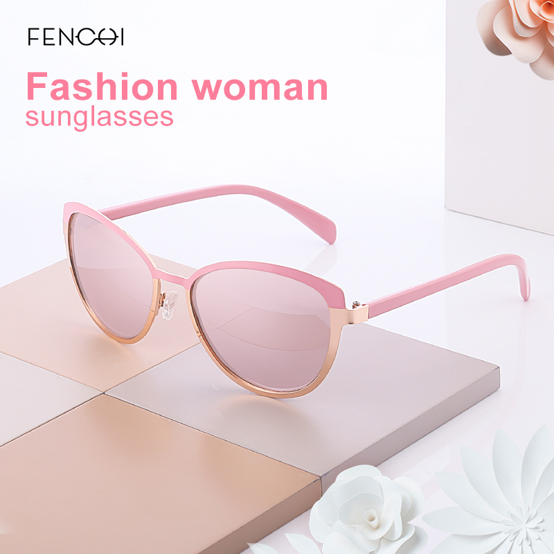 FENCHI New Sunglasses Women Round Metal Brand Designer Mirror Cat Eye Sunglasses Driving glasses