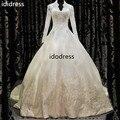 New Wedding Dresses 2015 Long Sleeves V Neck Applique Beading Modest Vintage Ivory Bridal Gown Vestidos De Novia