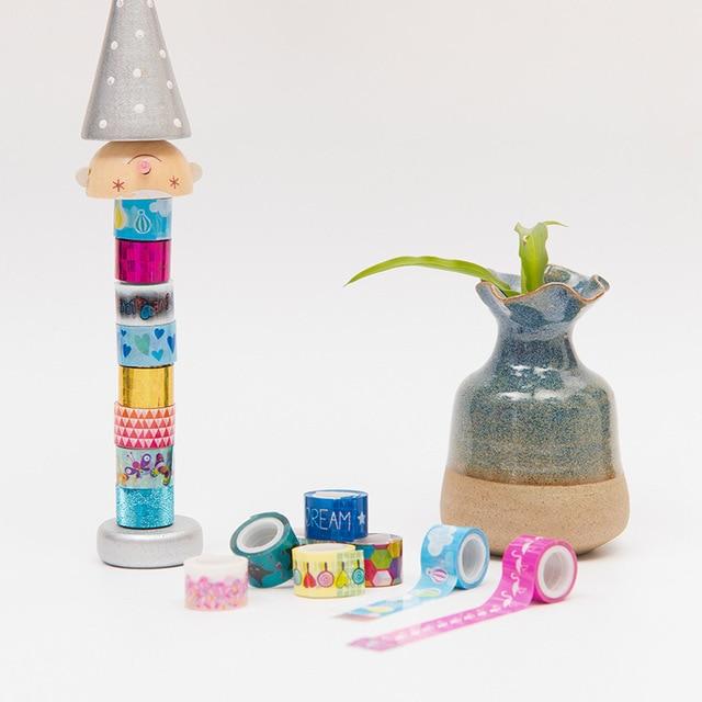 (10 pieces/lot) Kawaii Mini Cartoon Tape DIY Scrapbooking Sticker Label Masking Tape Decorative Adhesive Tape for Kids 4