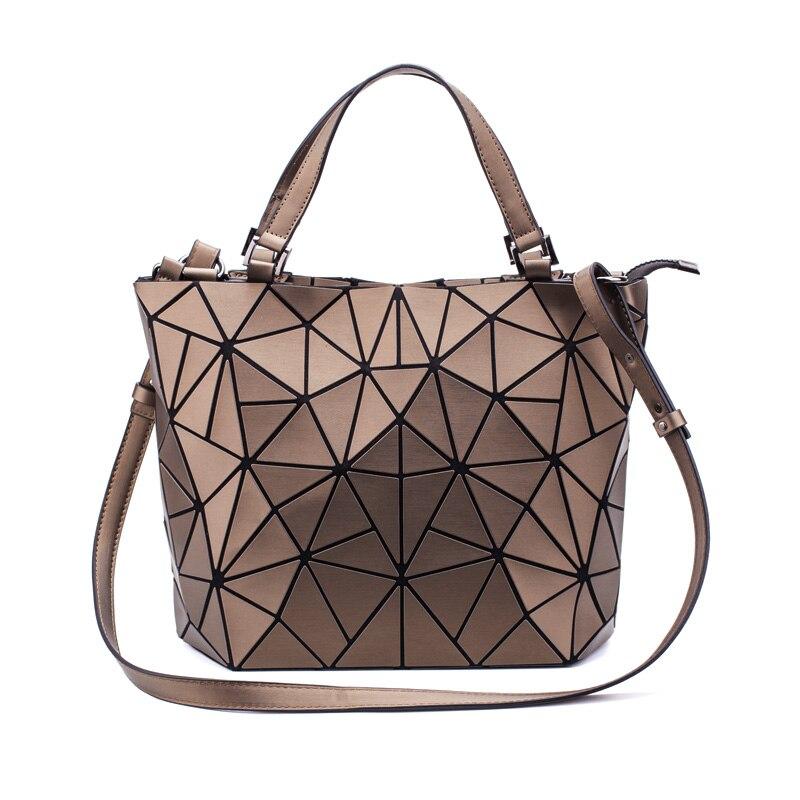 2019 nouveau géométique femmes sacs à bandoulière seau sac diamant plaine pliage sacs pliant sacs à main PU décontracté fourre-tout Bao Messenger sac