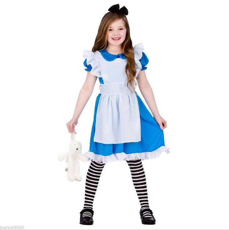 Anime Alice Princess Party Dress Maid Cosplay Girls Children's Clothing Halloween Costume For Girl Costume halloween cosplay maid girls dress carnival party skeleton pattern role pirate costume princess dress black with gloves