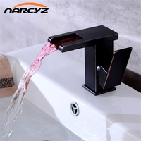 New Style Black Water Powered LED Faucet Bathroom Basin Faucet Brass Mixer Tap Waterfall Faucets Hot Cold Crane Basin Tap A1011