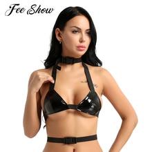 1667cf412b6 FEESHOW Womens Sexy Lingerie Wetlook PU Leather Triangle Bralette Halter Neck  Bra