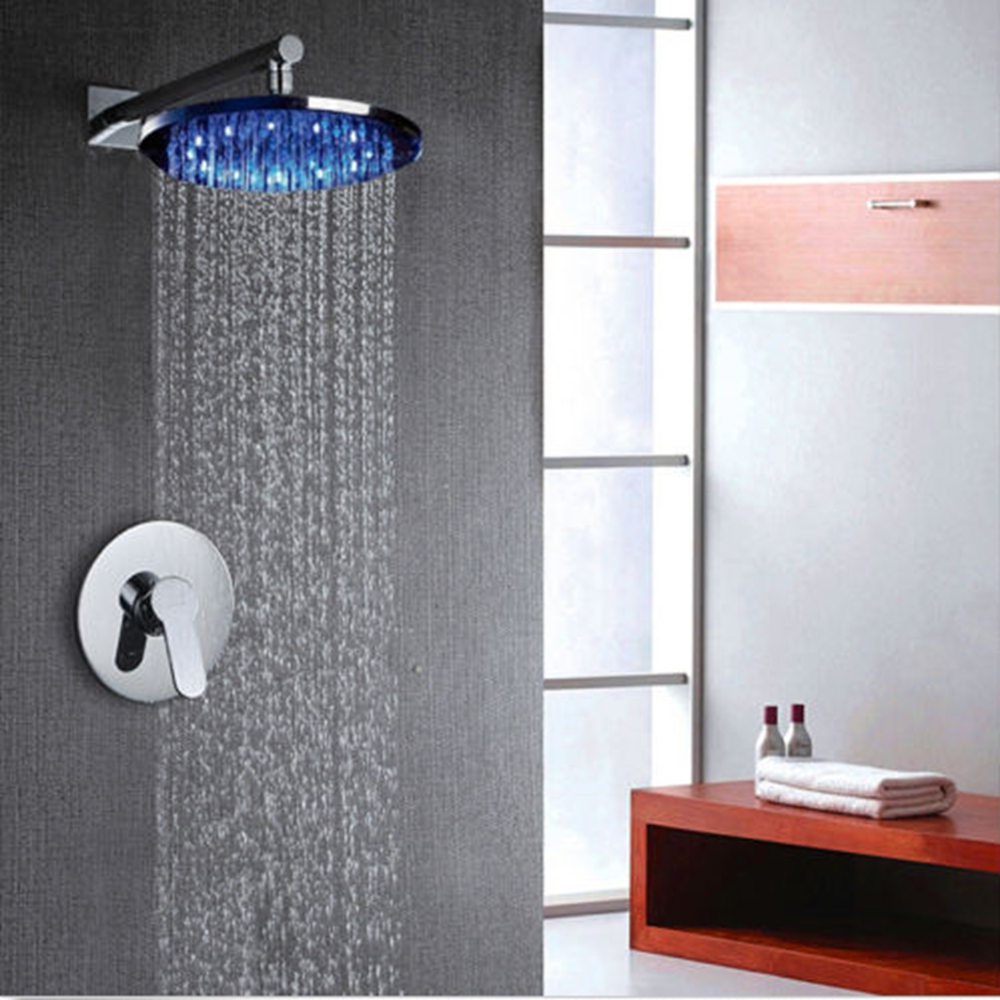 Shower Equipment Charitable Modern 8 Led Round Rain Shower Head Wall Mounted Shower Arm Single Handle Mixer Tap Promoting Health And Curing Diseases Bathroom Fixtures
