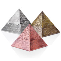Pyramid Bejeweled Trinket Box Decorative Collectible Metal Jewelry Box Ring Earring Pendant Display Packaging Gift Box Ashtray