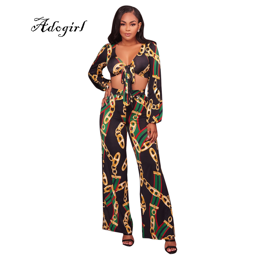 Gold Chain Print Women Set Sexy Bandage V Neck Short Crop -1654
