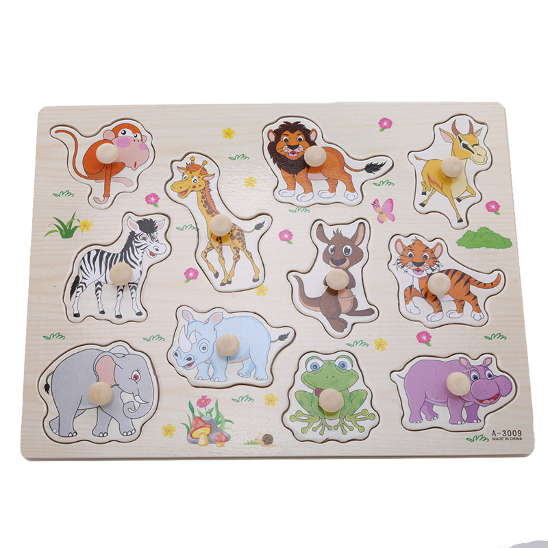 Wooden Matching Puzzle Games Animals Jigsaw Puzzles Early Learning Education Toys Cute Puzzle Popular Toys For Children