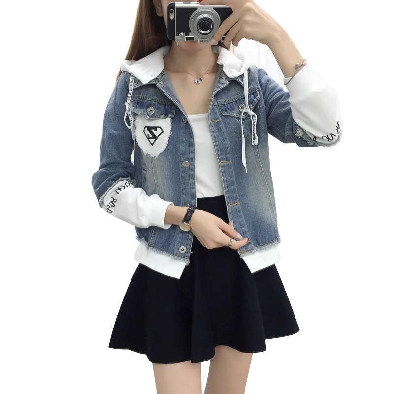 새로운 가을 캐주얼 후드 짧은 데님 자켓 여성 패션 splicing 패치 코트 플러스 사이즈 포켓 루스 자켓 청바지 코트 여성