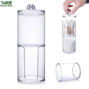 WBBOOMING Bins Storage-Boxes Makeup-Organizer Round-Container Cotton-Pads Acrylic Plastic
