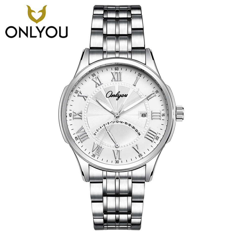 ONLYOU Men Business Stainless Steel Watch Women Dress Bracelet Luxury Silver Watchband lovers Watches Date Displays Clock Ladies muhsein hot sellingnew lovers quartz watches stainless steel watch business women dress watches for couples free shipping