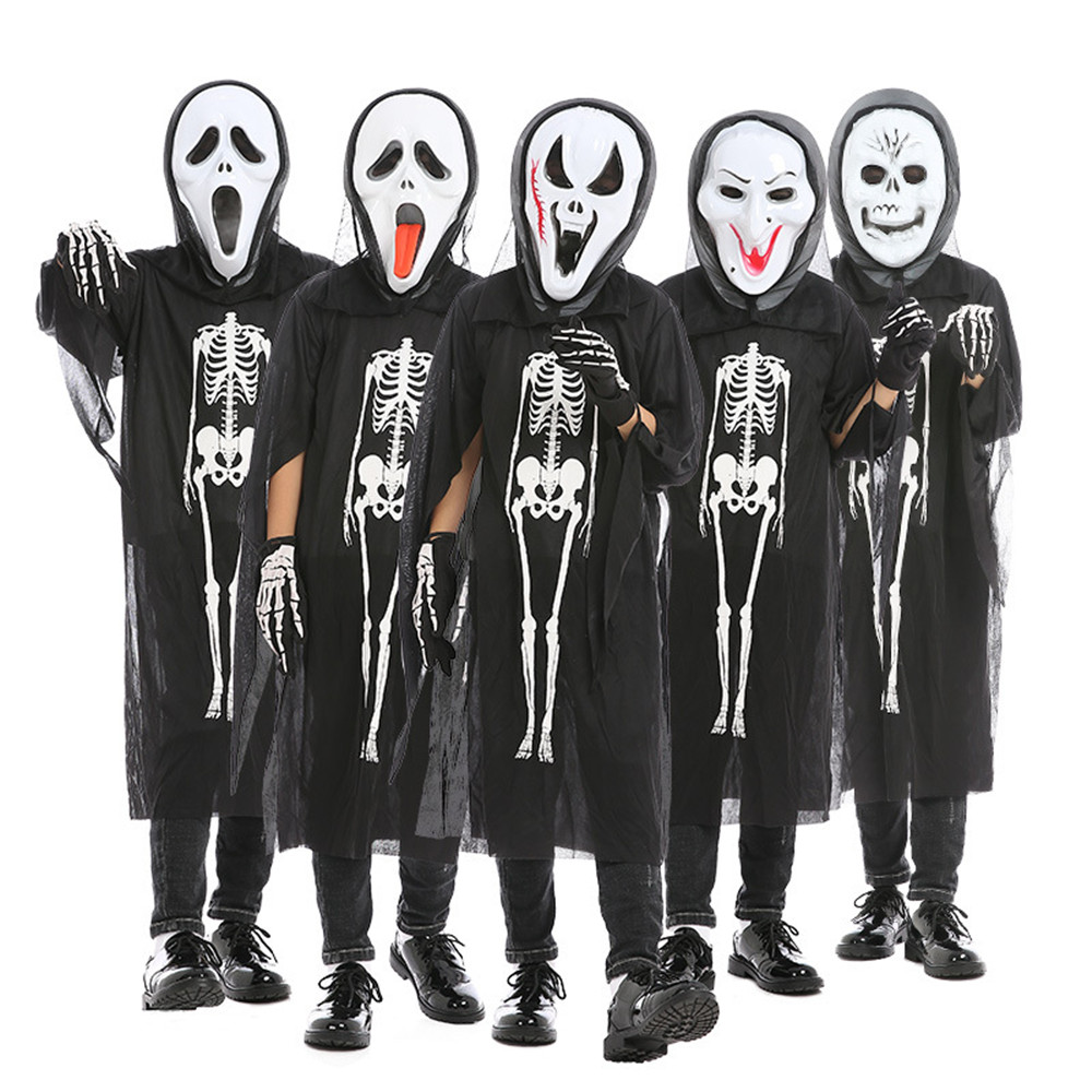 Cosplay children's Halloween horror costume ghost  vampire demon bone print jumpsuit / mask / gloves kids Bodysuit black