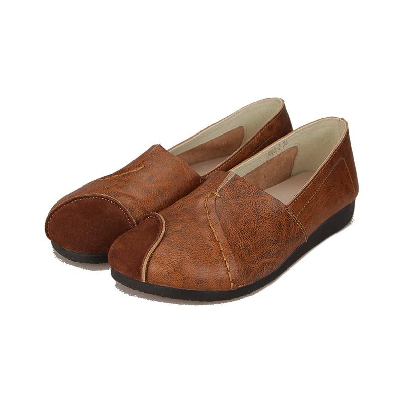 Cabeza Casuales Piel De Las 068 Mujeres Color Suave Brown Nuevos Zapatos Solo La Superficial burgundy de Vaca Cómoda Cuero Ronda Suela 3 wvvXqpES