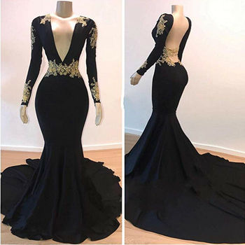 Sexy V-Neck Backless Gold Applique Mermaid Prom Dress Party Gown Evening Pageant